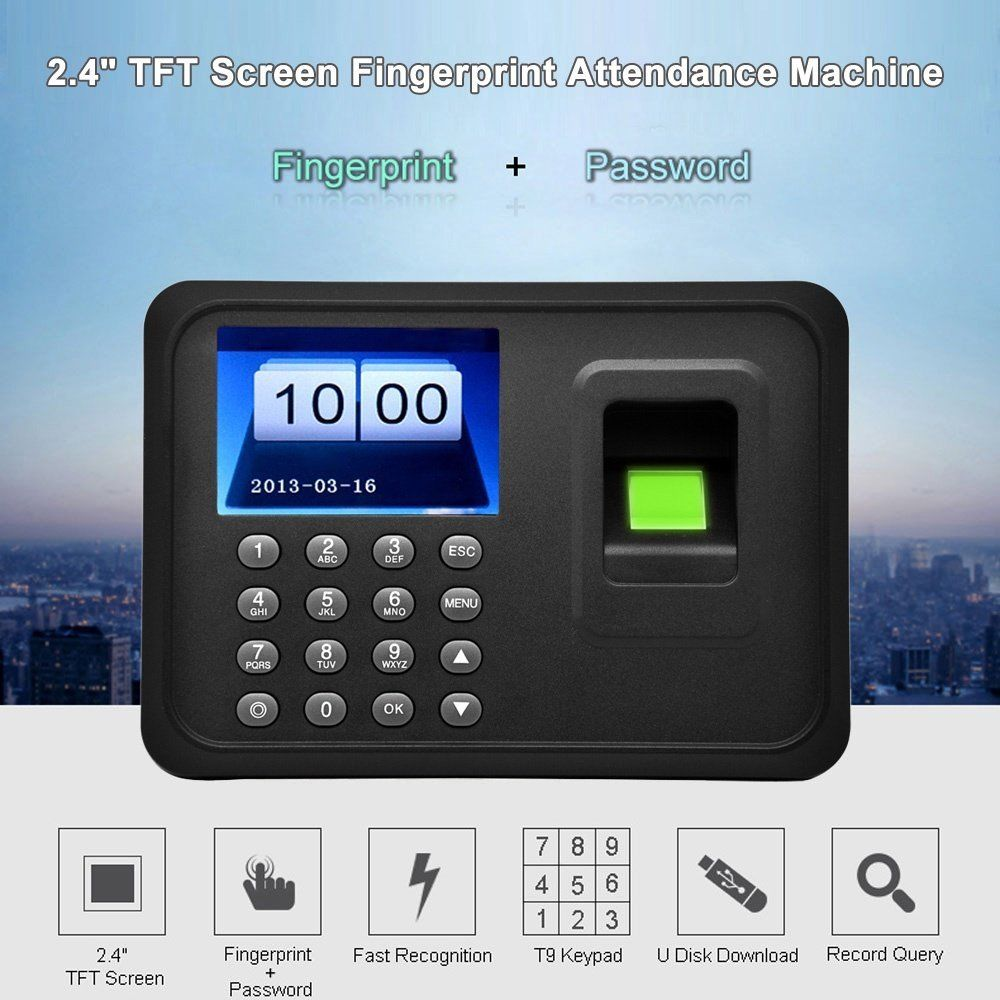 "2.4"" TFT Employee fingerprint Time Clock Attendance Time Clock Machine Employee Checking-in Recorder LCD... by willingboy"