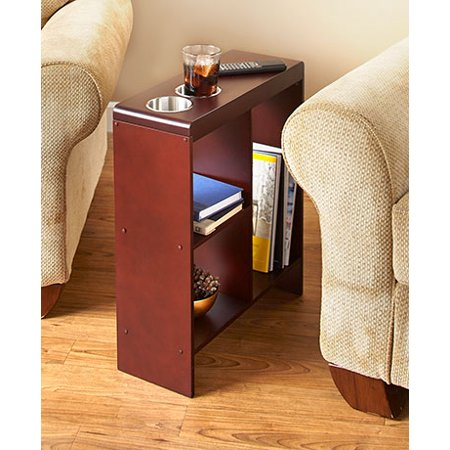 SLIM END TABLE WALNUT WITH CUP HOLDERS STORAGE MAGAZINE - Magazine Storage Table