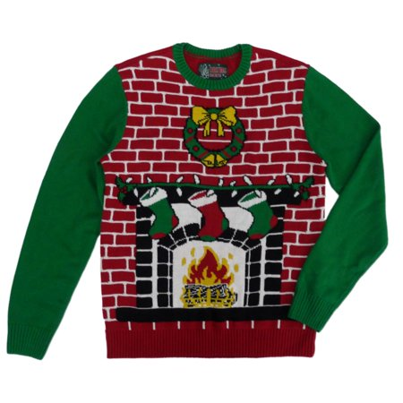 Ugly Christmas Sweater Mens Fireplace Scene Christmas Sweater M