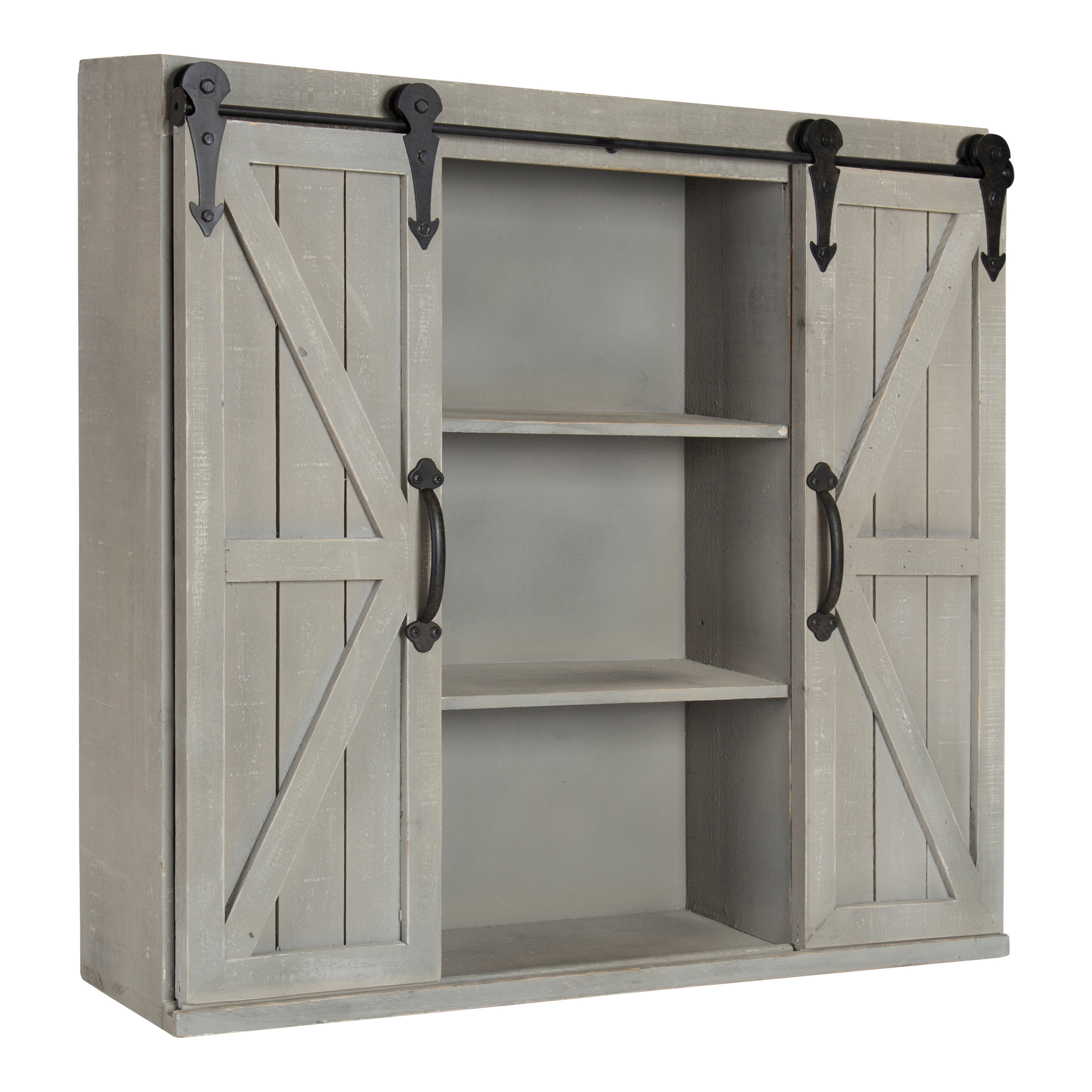 Kate And Laurel Cates Wood Wall Storage Cabinet With Two Sliding Barn Doors Rustic Gray Walmart Com Walmart Com