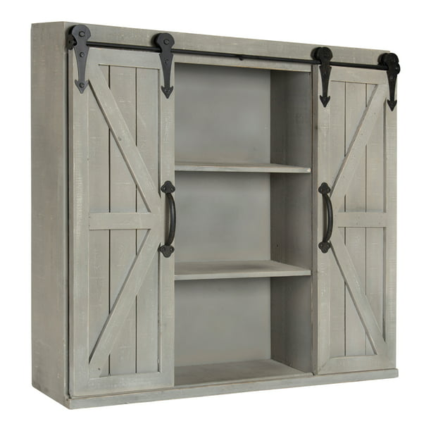 Kate And Laurel Cates Rustic Wood Wall Storage Cabinet: Kate And Laurel Cates Wood Wall Storage Cabinet With Two