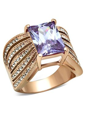 Women's Light Amethyst Emerald Cut CZ Stainless Steel Rose Gold Plated Ring Size 10