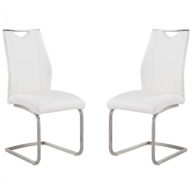 Bravo Contemporary Side Chair In White and Stainless Steel - image 1 of 1