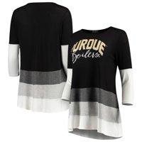 Purdue Boilermakers Women's Block Party Color Blocked Drapey Long Sleeve Tri-Blend Tunic Shirt - Black/Gray
