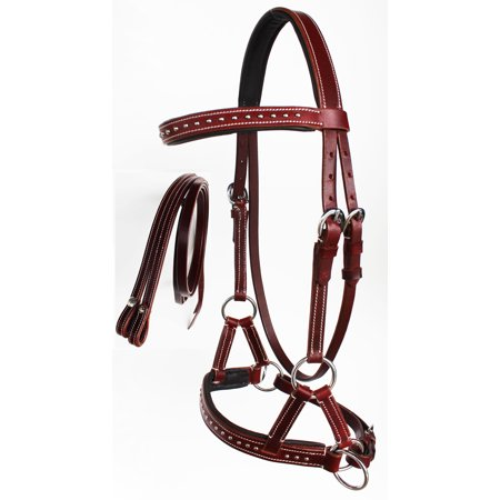 WESTERN HORSE LEATHER BITLESS SIDEPULL BRIDLE REINS CHESTNUT COB TACK