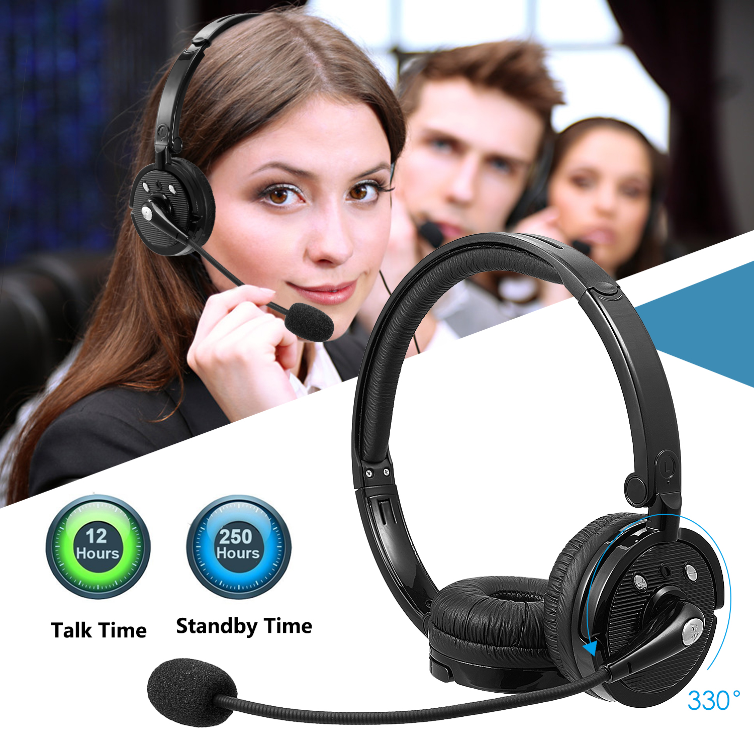 Luxmo Over Ear Wireless Bluetooth Headset With Mic Noise Cancelling Crystal Clear Foldable Headphones With Boom Microphone And Volume Control For Trucker Driver Office Call Center Iphone Android Walmart Com Walmart Com