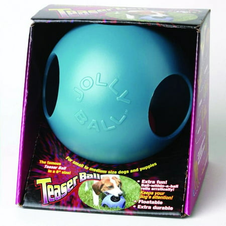 Jolly Pets Teaser Ball Blue Dog Toy, 6-inch