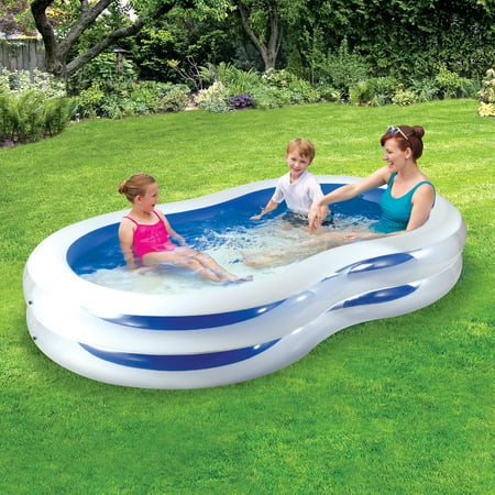 Play Day 8' Plastic Inflatable Family Swimming Pool, Blue and White - Big Blow Up Pools