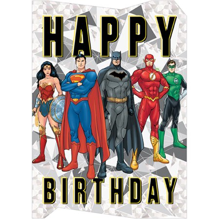 Paper House Productions Justice League Die Cut Foil Superhero Birthday Card For Kids (Justice League Dice)