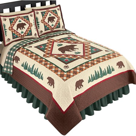 (Woodland Inspired Northwoods Bear Reversible Lightweight Quilt, Twin, Brown Multi)