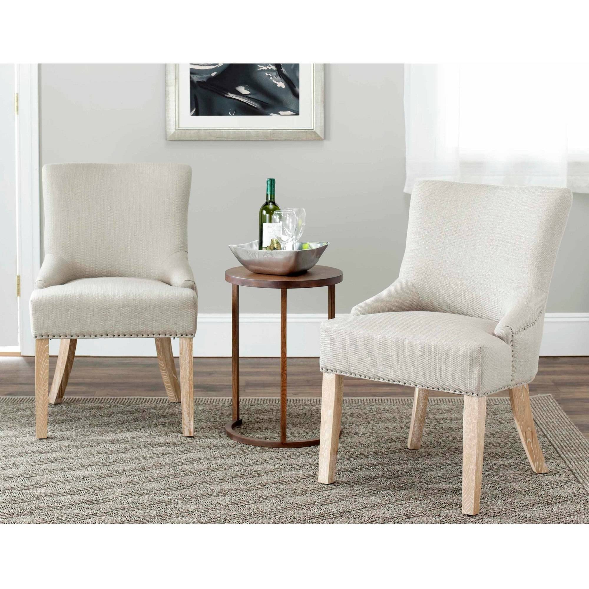 Safavieh Cotton-Poly Upholstered Lotus Side Chair, Set of 2, Biscuit Beige