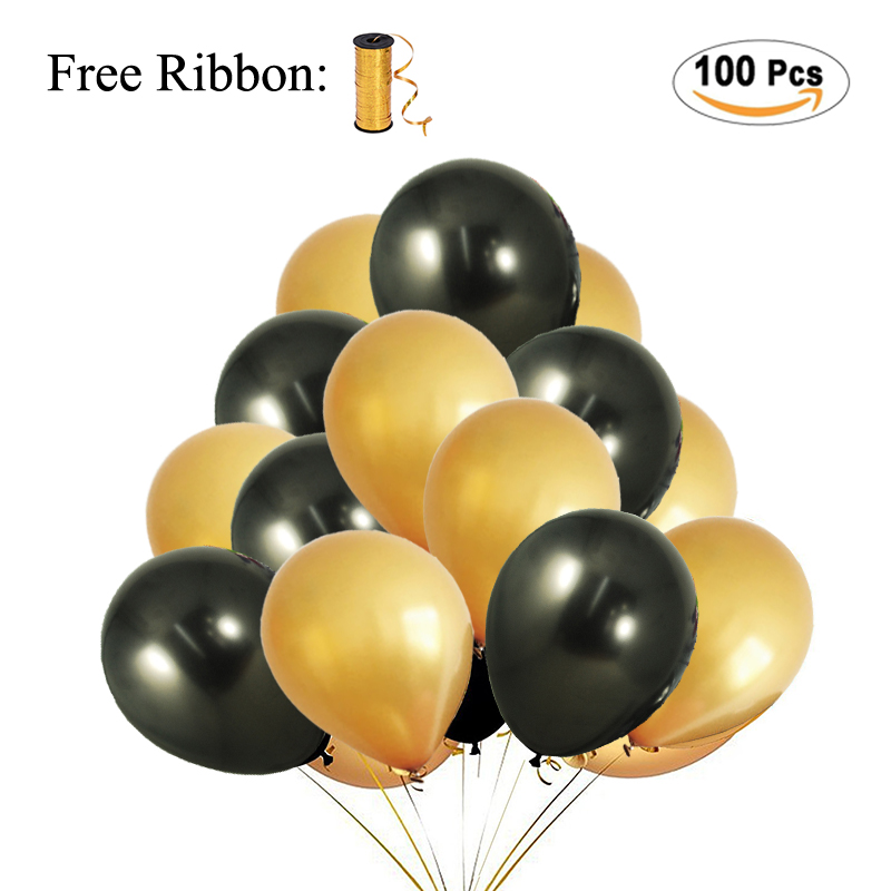 putwo balloons 100 pack 12 inch pearl gold & black balloons + 25m free ribbon for wedding decorations birthday decoration baby shower kids party supplies,3.5g
