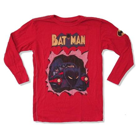 DC Comics Trunk Batman Batmobile Red Kids Long Sleeve Shirt](Dc Comics Kids)