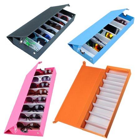 (8 Slot Eyeglass Sunglasses Glasses Storage Display Grid Stand Case Box Holder)