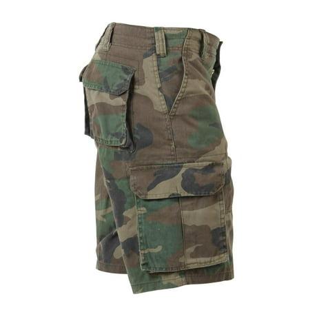 Baggy Woodland Camo Vintage Paratrooper Cargo Shorts ()