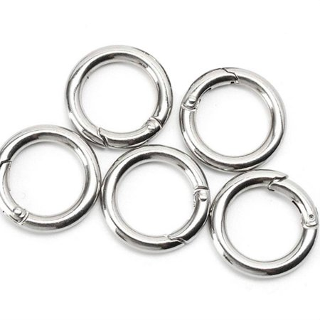 5pcs Round Carabiner Keychain Spring Snap Clip Ring for Camping Climbing - Anchor Hocking Spring