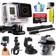 GoPro HERO3+ Hero 3+ Black Plus Edition Action Camera Camcorder with Accessories includes 16GB MicroSD Card + Selfie Stick + Bike Mount + Car Windshield Suction Cup + Head Helmet Strap (CHDHX-302)