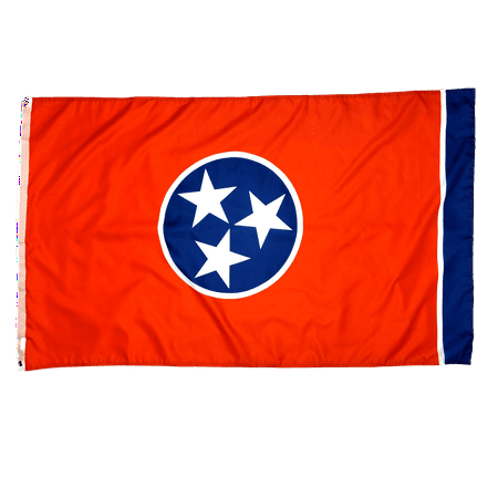 3x5 Foot Tennessee Flag Double Stitched Tennessee State Flag with Brass Grommets | 3 by 5 Foot Premium Indoor Outdoor Polyester Banner (Tennessee State Flag History)