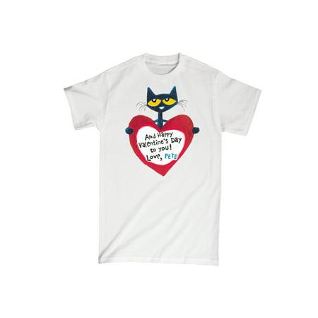 Pete The Cat Pete Valentine Heart  - Adult Short Sleeve Tee](Cat Valentines)