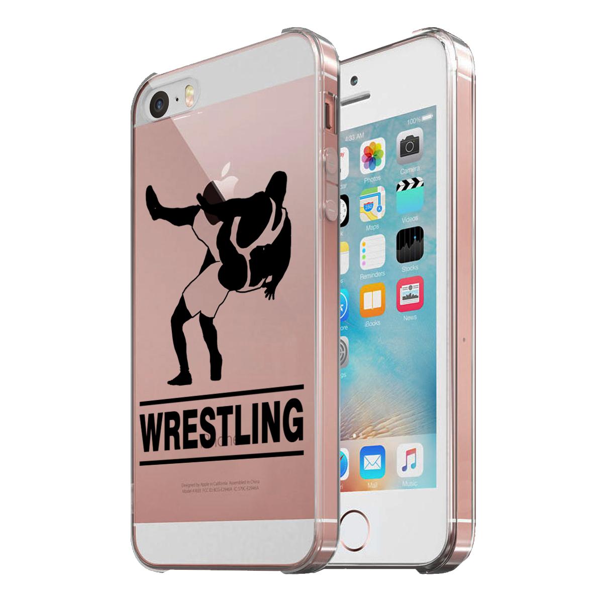KuzmarK Clear Cover Case fits iPhone SE & iPhone 5 - Wrestling Match