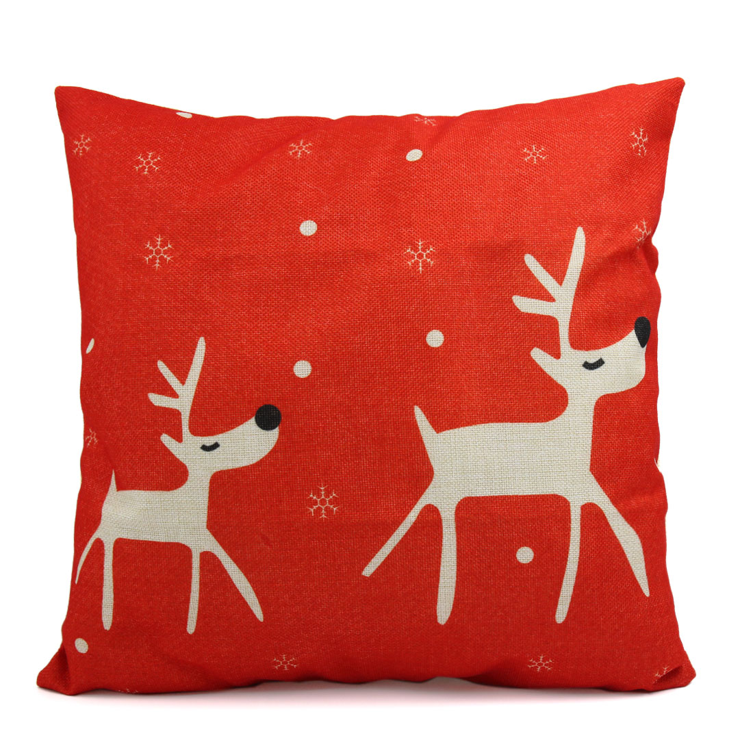Square Shape Linen Two Deer Printed Sofa Car Throw Cushion Pillow Cover - image 1 of 3