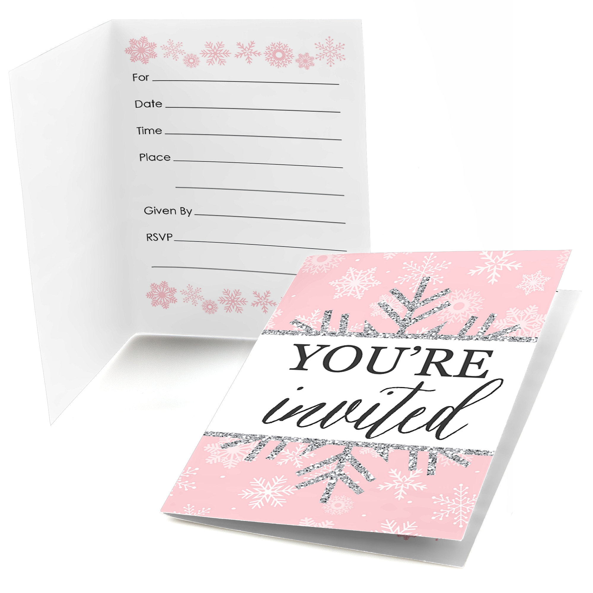 Pink Winter Wonderland - Fill in Holiday Snowflake Birthday Party or Baby Shower Invitations (8 Count)