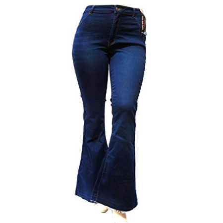 Sweet Look High Waist Juniors Womens Plus 70s Flared Bell Bottom Denim Jeans Pants