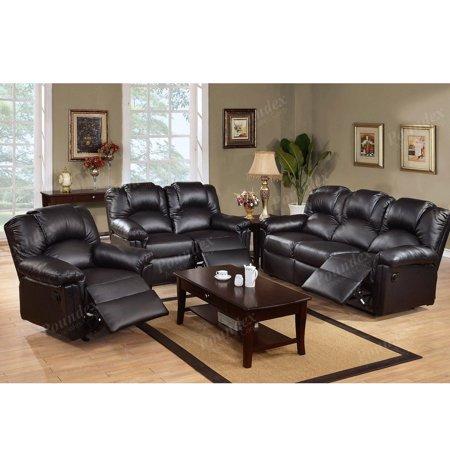 3-PC Modern Black Bonded Leather Motion Reclining Sofa Loveseat Glider Recliner Chair Set for Living - Motion Living Room Set