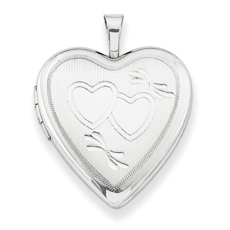 Sterling Silver 20mm Double Hearts Heart Locket w/ 18in Chain