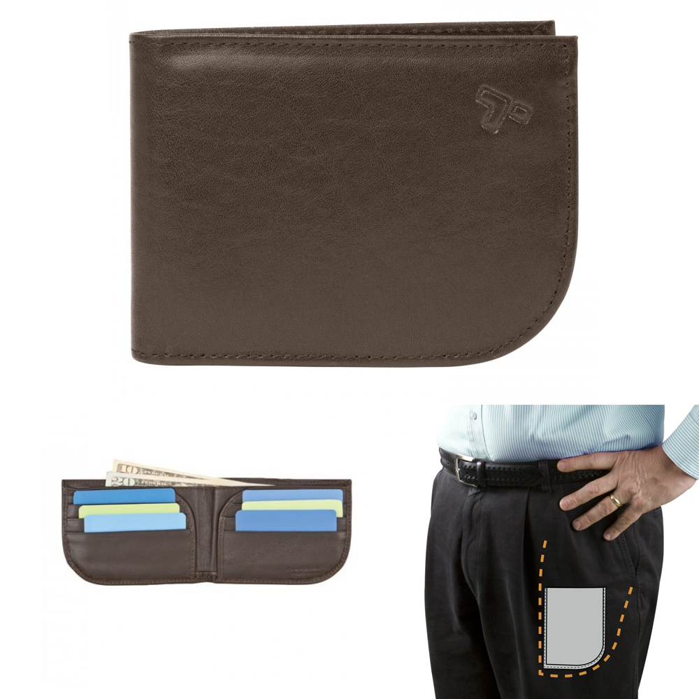 1 Travelon Front Pocket Wallet RFID Blocking Leather Id Card Mens Brown Billfold