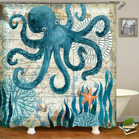 60x71 inch Blue Octopus Waterproof Custom Distinctive Bathroom Fabric Shower Curtain (with hooks) OR 3 PCS Non-Slip Pedestal Rugs Toilet Seat Lid Cover -