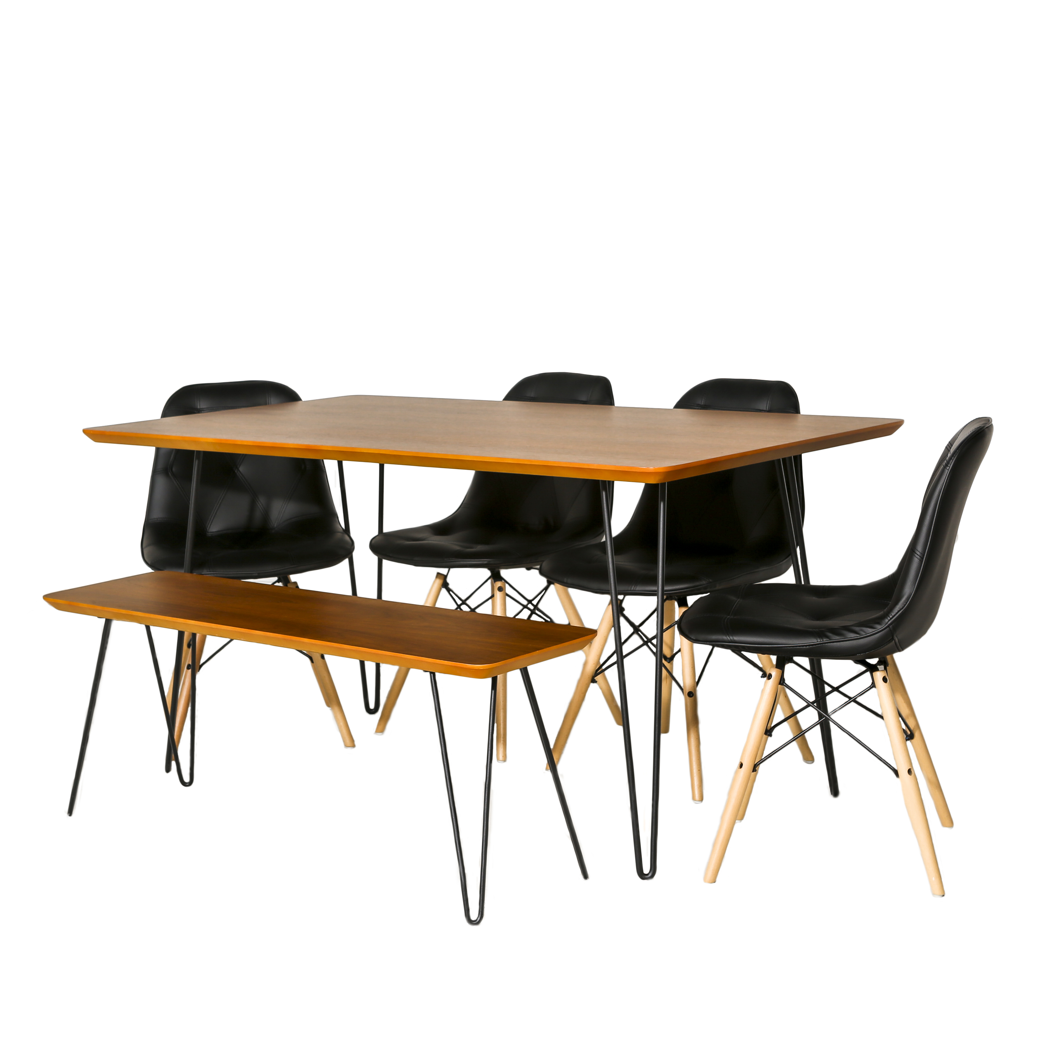 Manor Park Mid Century Modern Square Hairpin 6 Piece Dining Set W/ Eames  Chairs