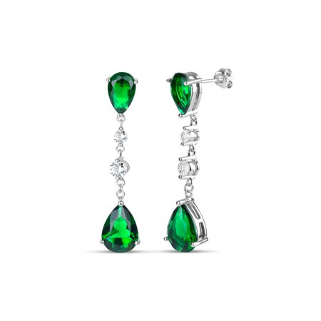 Pear Shape Sapphire Earrings (Created Emerald and Created White Sapphire Pear- and Round-Shape Sterling Silver Dangle Post)