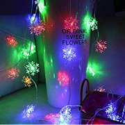 LED String Lights,40LED/19.6FT Christmas Snowflake Fairy Lights for Xmas Tree,Wedding,Party,Bedroom,Festival Decoration (Multi-Colorful)
