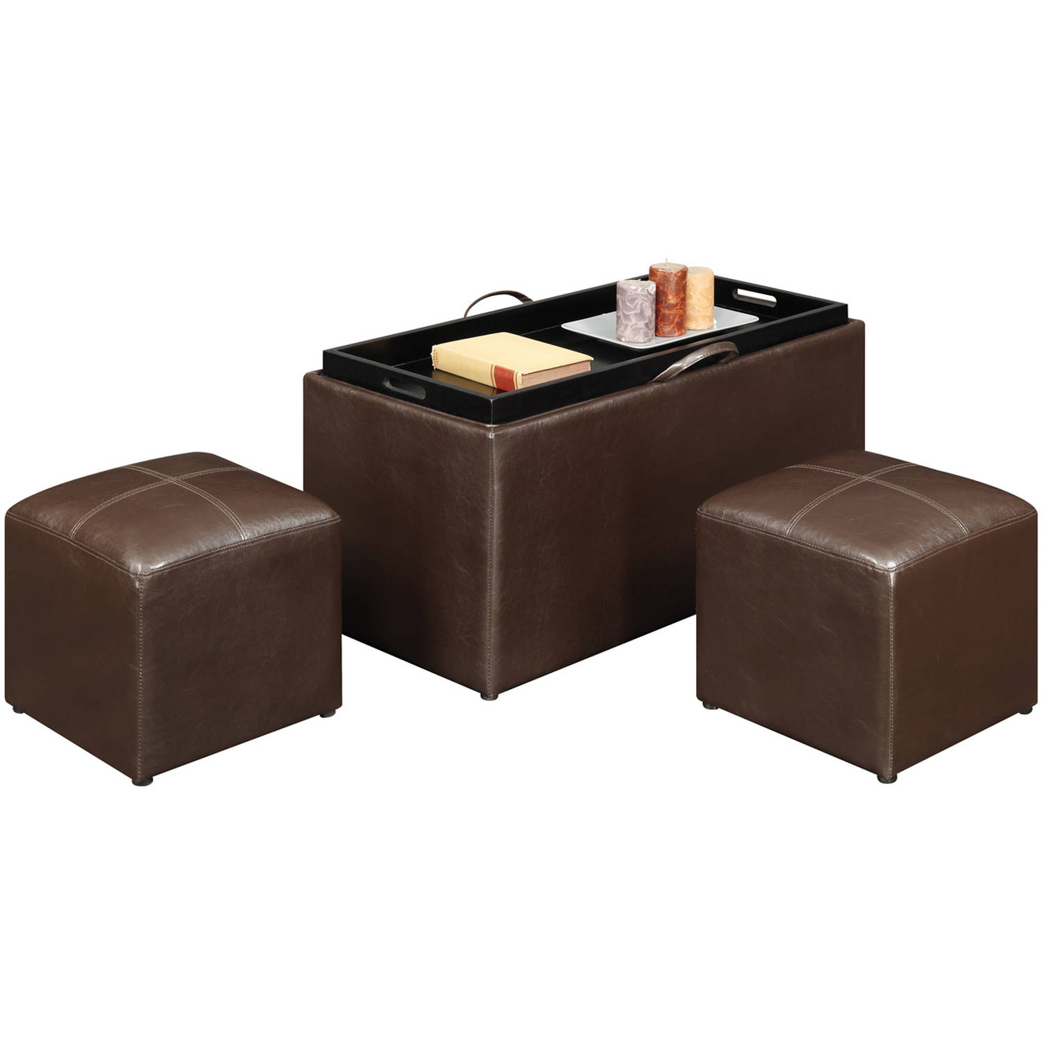 Designs4Comfort Faux Leather Storage Bench With 2 Side Ottomans, Multiple  Colors Image 3 Of 8