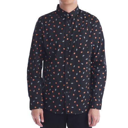 (Men's Printed Long Sleeve Button Front Shirt)