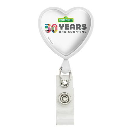 Sesame Street 50th Anniversary Logo Heart Lanyard Retractable Reel Badge ID Card Holder
