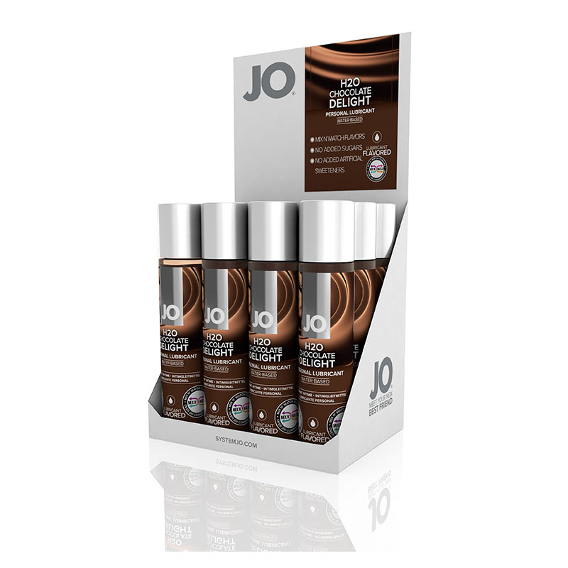 JO Flavors Chocolate Delight Water Based Lubricant Display Box - 12 Bottles