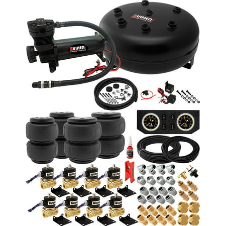 8 Valve Full Suspension System with 4 Gallon (15 Liter) Pancake Air Tank, 200 PSI Black Compressor, Two 2500-type/Two 2600-type Airbags, Gauges, Fittings and Hoses