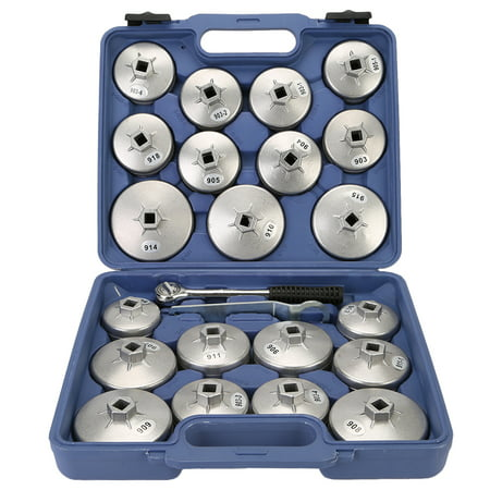Oil Filter Socket Set (TKOOFN 23/30Pcs Aluminum Alloy Cup Type Auto Oil Filter Cap Wrench Socket Removal Tool Set 1/2