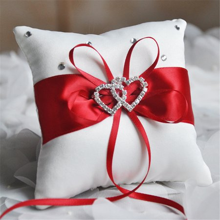 4'' x 4'' Double Heart Bridal Wedding Ceremony Pocket Ring Bearer Pillow Cushion with Satin Ribbons Wedding