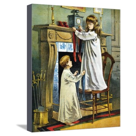 Boy and Girl Place Stockings on their Fireplace Mantle on Christmas Eve, 1918 Stretched Canvas Print Wall Art](Fireplace Mantels Decorated Halloween)