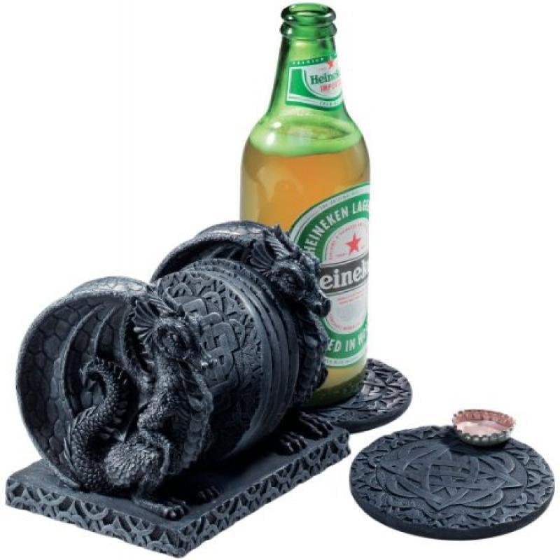 """4.5"""" Celtic Medieval Dragon coaster set for drinks"""