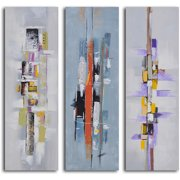 My Art Outlet 'Urban Abstract Triptych' 3 Piece Painting on Wrapped Canvas Set