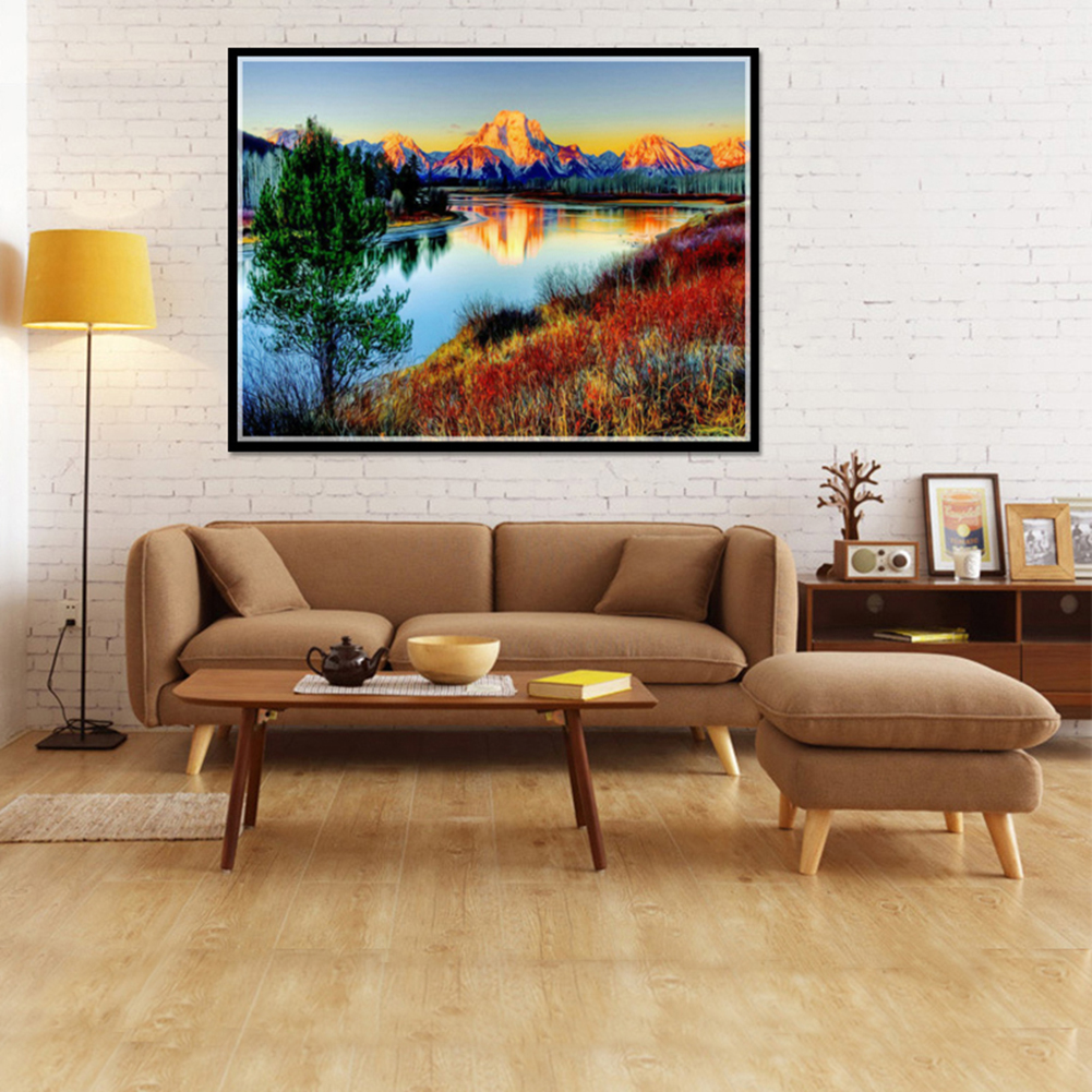 Girl12Queen 5D DIY Diamond Painting Cross Stitch Kit Landscape River Mountain Embroidery