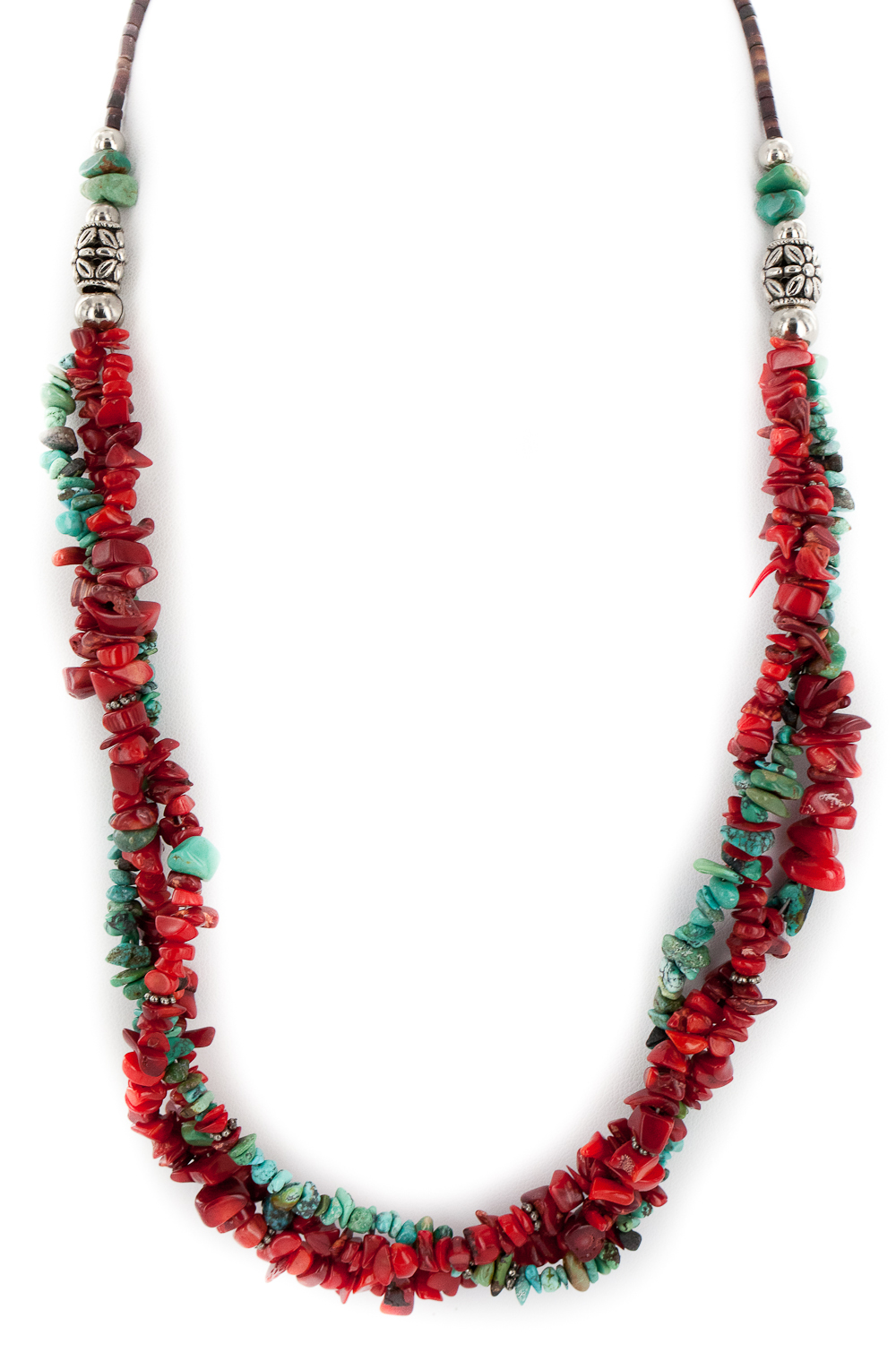 600 Retail Tag 3 Strand Authentic Made by Charlene Little Navajo .925 Sterling Silver Coral Natural Turquoise Twisted... by