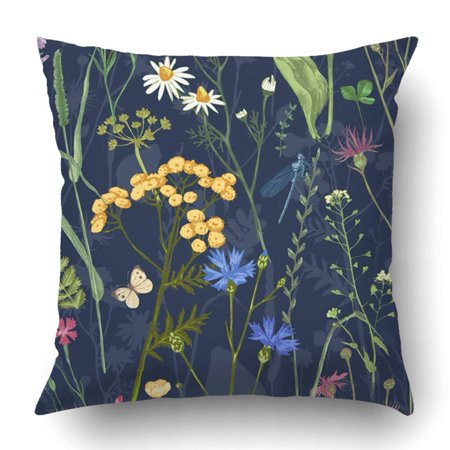 RYLABLUE Hand drawn with colorful herbs and flowers Pillowcase Throw Pillow Cover Case 20x20 inches - image 2 de 2