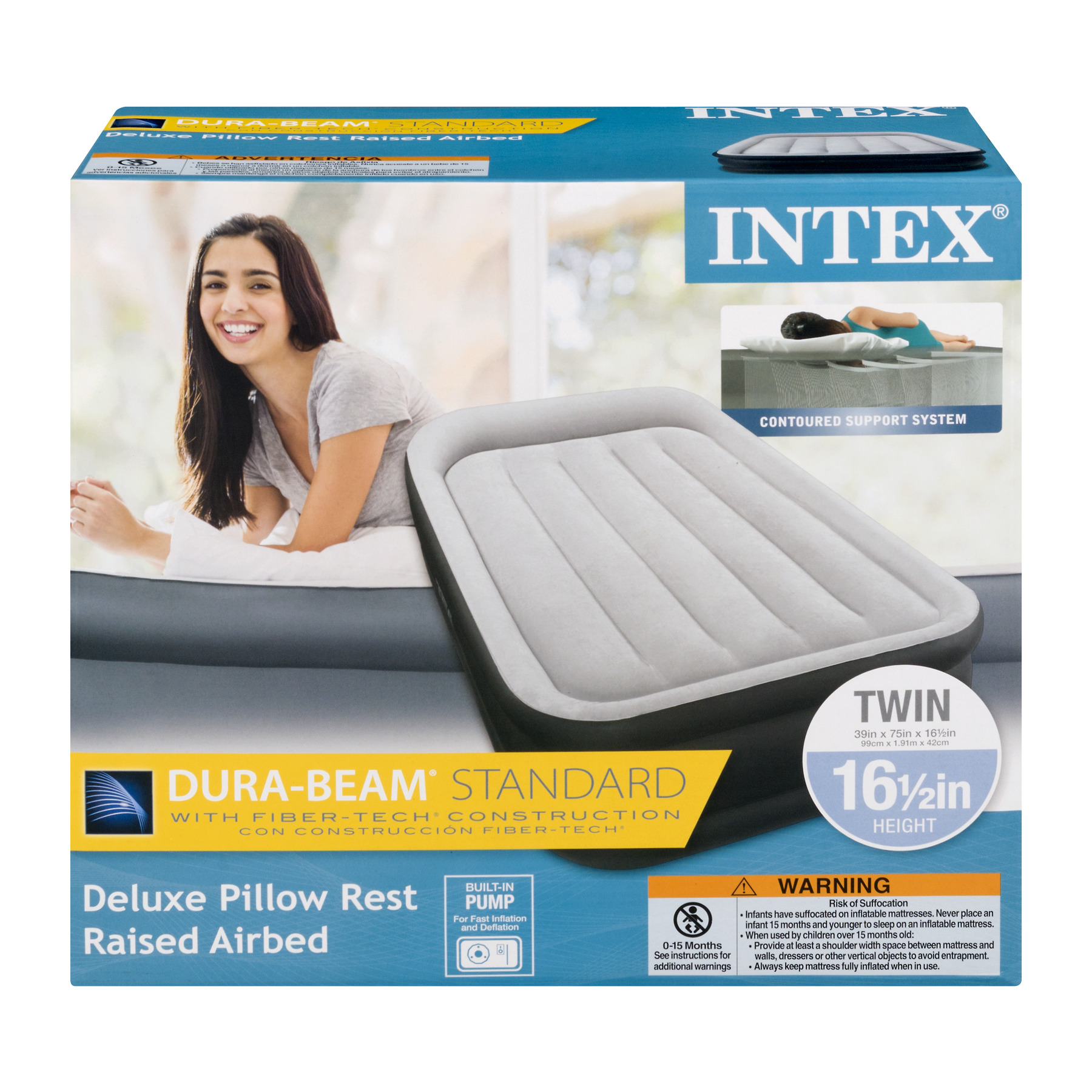 "Intex 16.5"" DuraBeam Deluxe Pillow Rest Airbed Mattress with Built-In Pump, Multiple Sizes"