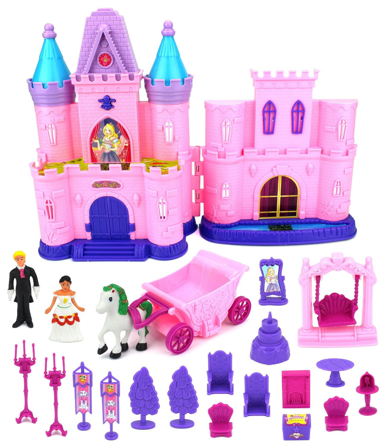 My Dream Castle Toy Doll Playset W/ Lights, Sounds, Prince And Princess  Figures