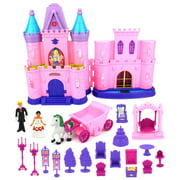 My Dream Castle Toy Doll Playset w/ Lights, Sounds, Prince and Princess Figures, Horse Carriage, Castle Play House, Furniture, Accessories (Styles May Vary)